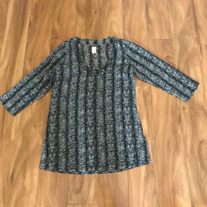 Tommy Bahama Sheer Beaded Womens Zebra Print Shirt